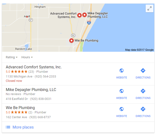 Image of Google search results for local plumbers showing lots of reviews for one business and few for the rest.